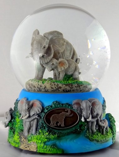 Sculptured Elephant with Baby Snow Globe - Water Ball Music Box 5 3/4