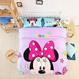 CASA Children 100% Cotton Mickey Series Minnie Duvet cover & Pillow cases & Sheet,Duvet cover set,4 Pieces,Queen