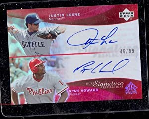 05 UD Reflections Dual Auto Justin Leon Ryan Howard /99