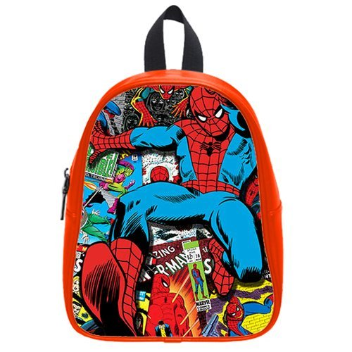 Fashion High-Grade Pu Leather Spiderman School Book Travel Bag Backpack Daypack For Boys Girls Large
