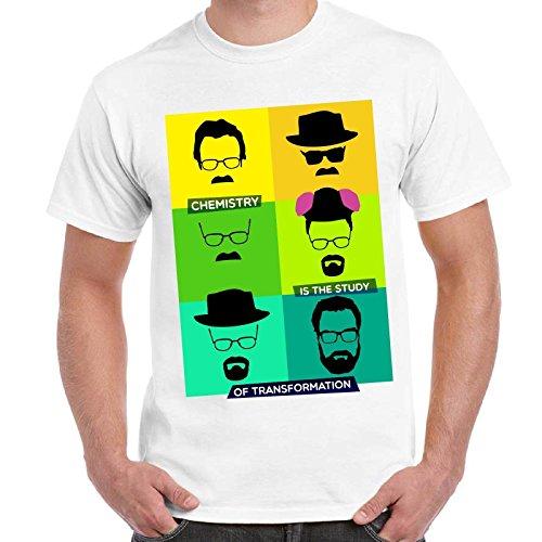 Maglietta Uomo T-Shirt Serie TV Breaking Bad Walter White Heisenberg Evolution Imperdibili, Colore: Bianco, Taglia: S