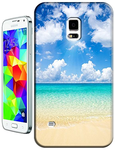 Cell Phone Case Beach Design Beautiful Sunshine Water Trees For Samsung Galaxy S5 I9600 No.9 front-886908