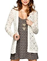 FULL TILT Open Weave Crochet Womens Cardigan