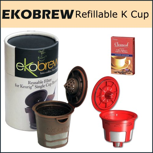 Ekobrew Cup, Refillable K-Cup For Keurig K-Cup Brewers, Bundle - Includes Solofill Reusable K-Cups and Urnex Cleancaf Coffee Machine Cleaner and Descaler
