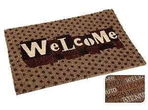 MQ Welcome Fußmatte Fußabtreter Türmatte Kokos mit Gummiboden Bodenmatte 60 x 40 cm