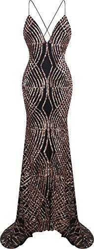Angel-fashions Women's Spaghetti Strap Sequin V Neck Mermaid Long Ball Gown Small (Spaghetti Strap Satin Dress compare prices)