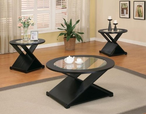 "3pc Coffee Table Set with ""X"" Base in Rich Black Finish"