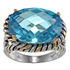 Sterling Silver Two-Tone Aqua Oval CZ Ring - Size 7 (Available in sizes 6 through 9)