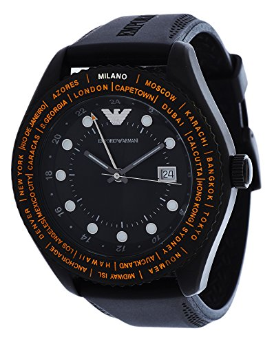 Emporio Armani Unisex AR0590 Black Rubber Quartz Watch with Black Dial