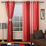 Ajay Furnishings 2 Piece Polyester Modern Door Curtain - 7 ft, Red