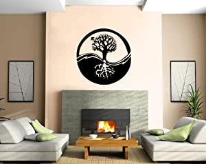 Yin yang chinese philosophy tribal decor for Decoration murale yin yang