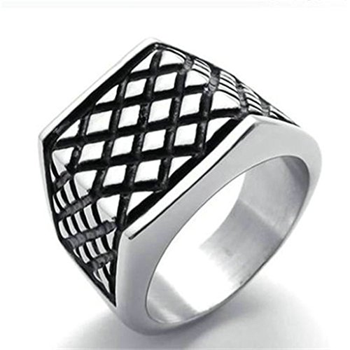 Stainless Steel Ring for Men, Square Black Band Grid Ring Gothic Silver Band 18MM Size 10 Epinki
