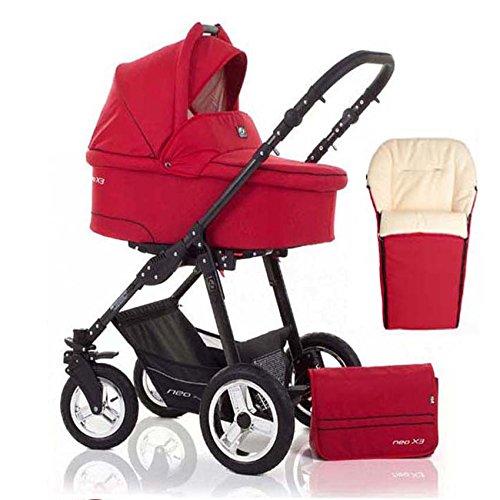 2 in 1 Kinderwagen Neo X3 - Kinderwagen + Sportwagen + Fußsack + GRATIS ZUBEHÖR in Farbe Rot