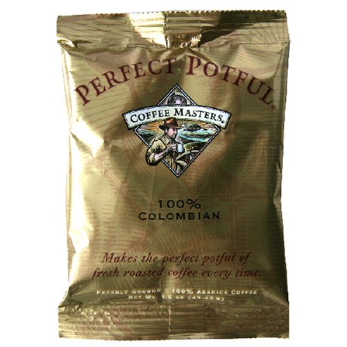 Coffee Masters Perfect Potful Columbian 100 Percent Ground Coffee, 1.5-Ounce Packets (Pack of 12)