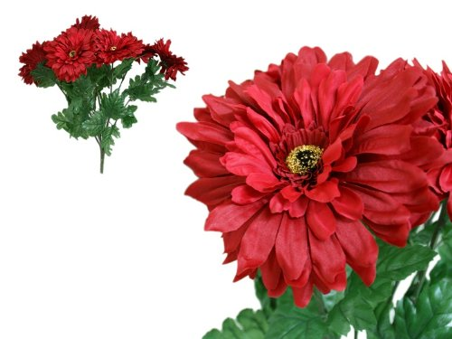 28 Red Silk Gerbera Daisy Wedding Flowers Bouquets Bush