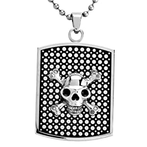Men's Stainless Steel Skull Dog Tag with Clear Crystal Pendant Necklace , 24""