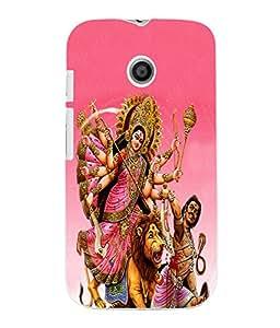 Fuson 3D Printed Lord Durga Designer Back Case Cover for Motorola Moto E - D506