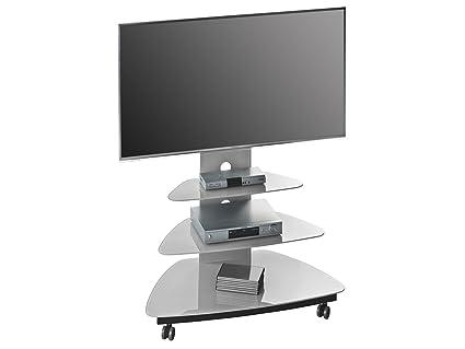 """TV Rack Tisch Board Hifi Fernsehtisch Unterschrank Schrank Ständer """"Hilde I"""" (Glas/Platingrau)"""