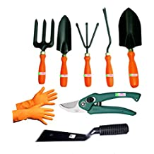 Easy Gardening - Garden Tools Kit (8Tools) Weeder,Trowel Big,Trowel Small,Cultivator,Fork, Pruner, Khurpi, Orange...