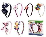 Bundle Monster 6pc Cute Handmade Grosgrain Ribbon Bows Toddler Girl Hair Headbands, SET B - Assorted Mix Lot Set