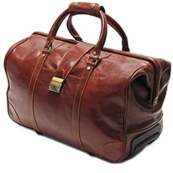 Cenzo wheelie trolley suitcase rolling duffle clothing for Leather luggage wheeled duffel