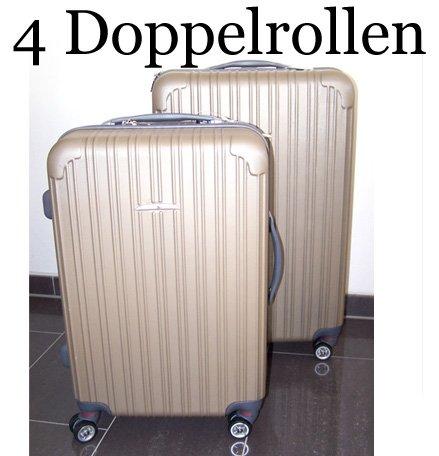 2 tlg. Kofferset XXL Koffer Set Hartschale Champagner