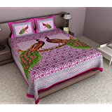 Maruti PRINTS Peacock Printed Pink Cotton Double Bedsheet (With Pillow Covers)