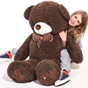 """HDYCBlansdi-55""""-Giant Huggable and Adorable Smile with white spot butterfly necktie Soft stuffed Plush Teddy Bear Deep brown:Amazon:Toys & Games"""