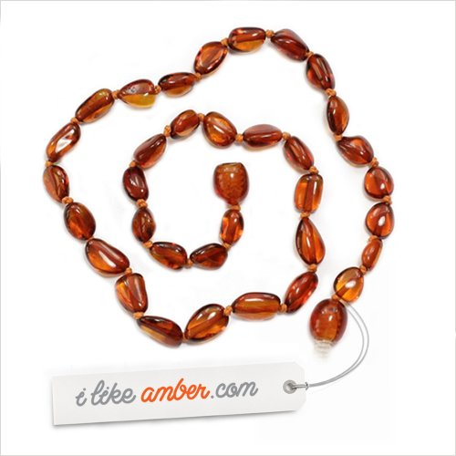 33-34cm Genuine Baltic Amber Child Necklace - Cognac Color Beads - Great New Mum or Christening Gift + Free Organza Gift Bag