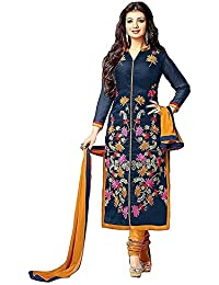 Little Lady Women's Cotton Silk Salwar Suit (LADYDM01_blue_Free Size)