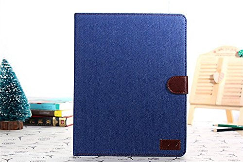 Borch Fashion Luxury Multi-Function Protective Denim Light-Weight Folding Flip Smart Case Cover For Ipad Air (Deep Blue)
