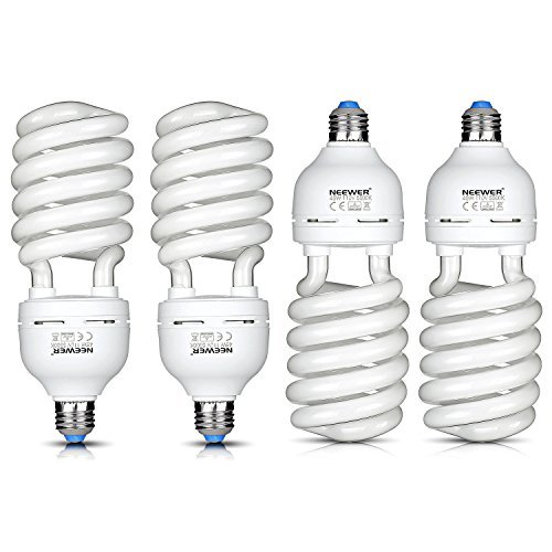 Neewer 4x 45W Energy Saving Tri-BAND Spiral CFL Photo Fluorescent Spiral Daylight Light Bulbs for Photo and Video Studio Lighting(4 Pack) (Tri Energy compare prices)