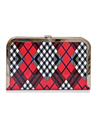 Red With Check Party Clutch