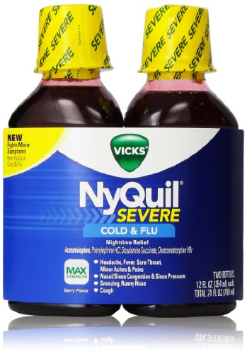 nyquil medication and treatment Nyquil is a medication commonly used in the treatment of cold and flu symptoms its active ingredients are acetaminophen, dextromethorphan hbr and doxylamine succinate, which serves as a pain reliever, a cough suppressant and an antihistamine respectively.