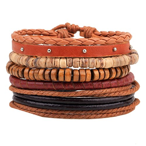 iVan Boys / Girls Fashionable Vintage Beaded Braided Leather Wax Rope National style Valentine Charm Bracelets(HempRopes)
