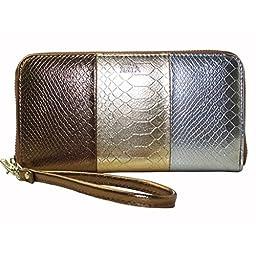 Xenia Style - Women\'s Zip Around Clutch Handbag - Use It As a Wallet or a Purse - Gold Silver Bronze
