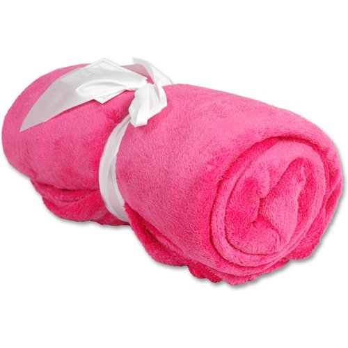Super Soft Plush Fleece Blankets - By Threadart - Hot Pink - 9 Colors Available front-567557