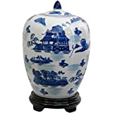 Oriental Furniture Simple, Affordable, Beautiful Gifts, 12-Inch Antique Chinese Export Porcelain Reproduction Melon Jar, Landscape