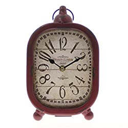 JustNile Rustic Table/Desk Clock - Hangable Red Oval Metal