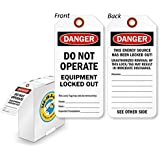 """Danger Do Not Operate Equipment Locked Out Tag with, Polyolefin Tag, 100 Tags / Box, 3"""" x 6.25"""""""