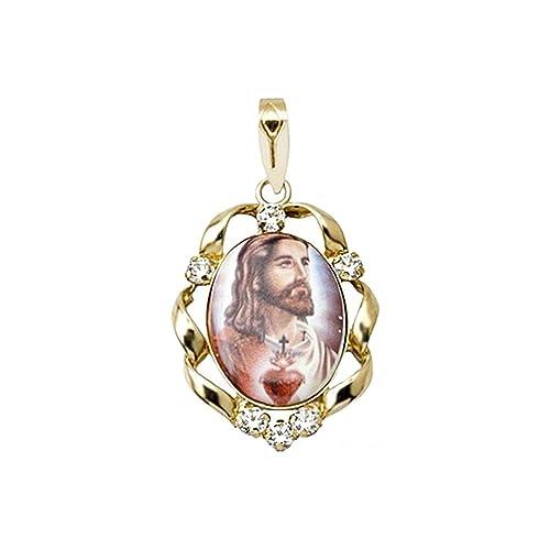 18k gold pendant zircons Heart Jesus [AA4796]