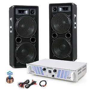 2400W PA SET PARTY Musikanlage Beschallungssystem Boxen Verstärker Endstufe DJ-169