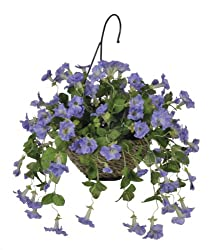 Artificial Petunia Hanging Basket, Lavender