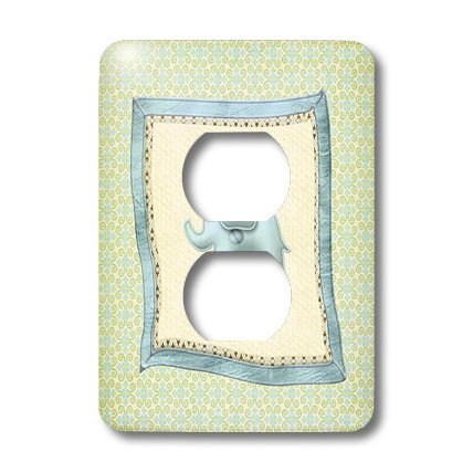 Lsp_192553_6 Beverly Turner Baby Stuff Design - Baby Elephant Blanket With Flowers And Curls, Blue And Green - Light Switch Covers - 2 Plug Outlet Cover front-284052