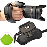 First2savvv OSH0402 Professional Wrist Grip black genuine leather hand Strap for Canon EOS 400D with LENS Cleaning Cloth