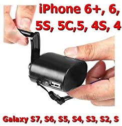 Innovative Digital Hand-Crank USB Cell Phone Emergency Charger for Apple iPhone 6Plus, 6, 5S, 5C, 5, 4 4S, 3GS 3G, Android Phones, Samsung Galaxy S7,S6, S5, S4, S3, S2, S plus other Smart Phones