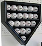 21 Home Plate Shape Baseball Display Case Holder Cabinet, with 98% UV Protection door, Locks, Black Finish (B21-BLA)