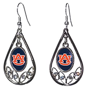 Auburn Tigers Polished Silver Tone Tear Drop Hoop Earrings with Czs. by Judson