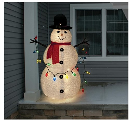 Snowman lighted yard displays christmas wikii 4 feet collapsible snowman christmas outdoor decoration 4 feet tall 58 lights collapsible to store compactly dont wait for snow workwithnaturefo