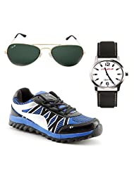 Elligator Stylish Black & Blue Sport Shoes With Watch & Sunglass For Men's